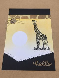 Zoo Review Stampin Up, blending, African animals, giraffes African Animals, Card Tutorials, Giraffes, Hero Arts, Unity, Stamping, Card Ideas, Cards, Handmade