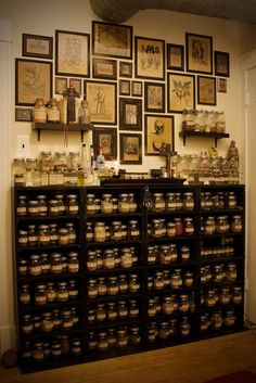 Apothecary cabinet and framed art on the wall. Cabinet Of Curiosities, Practical Magic, Kitchen Witch, Interior Modern, Herbalism, Interior Decorating, Sweet Home, House Design, Decoration