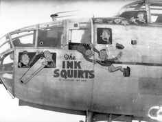 Aviation Nose Art,The Ink Squirts Pin Up, Ww2 Aircraft, Military Aircraft, Military Art, Military History, Military Pins, Jets, Memphis, Transport Public