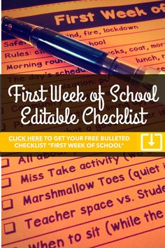 Get a free editable bullet list for the first week of school!