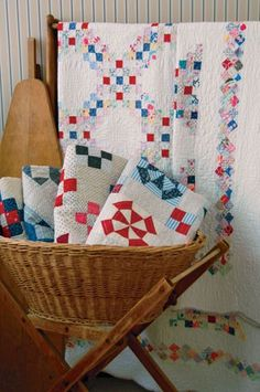 show off vintage quilts in a basket @allpeoplequilt.com