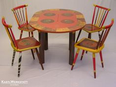 Esstisch und vier Stühle India - Decoupage Dining Chairs, Furniture, Home Decor, Dinning Table Set, Upcycled Crafts, Essen, Dinner Chairs, Homemade Home Decor, Dining Chair