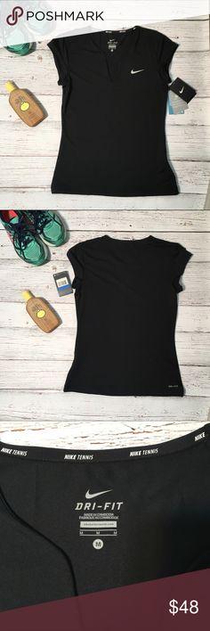 NWT Nike Dri-Fit V-Neck Tennis Top - Black Brand NWT, Nike Dri-Fit Tennis Top in a size Medium. Color: Black. Cap sleeves, V-neck. Machine washable. Nike Tops Tees - Short Sleeve