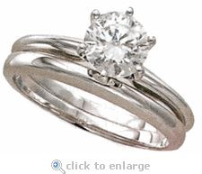 The Ziamond Cubic Zirconia Round Classic Solitaire with Matching Band in 14k white gold.  $795 #ziamond #cubiczirconia #cz #classicsolitaire #matchingband #weddingset #14kgold