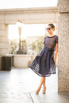 A Set :: Sheer stripes & Midi skirt | Wendy's Lookbook