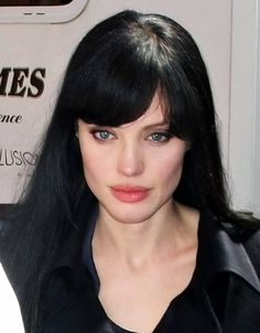Angelina Jolie Fashion: All Over Black Straight Hairstyle ...