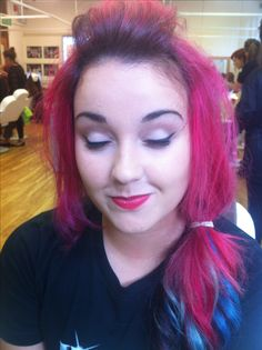 1940's Inspired Winged liner and cut crease with red lips