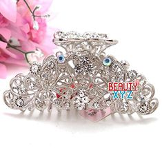 Silver White Glinted Crystal Animated 3D Butterfly Hair Clip Claw pins >>> Read more  at the image link. (This is an Amazon affiliate link and I receive a commission for the sales and I receive a commission for the sales)