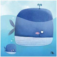 Tableau enfant Baleine et baleineau - Lillipinso