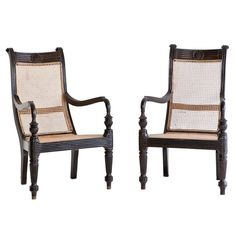 1stdibs   Colonial Grandfather Chairs in Ebony