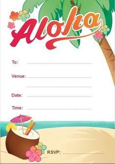 Blank Aloha, Hawaiian, Luau Birthday Party Invitations free envelopes & P&P | eBay