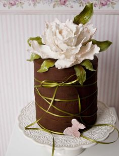 chocolate cake with peony