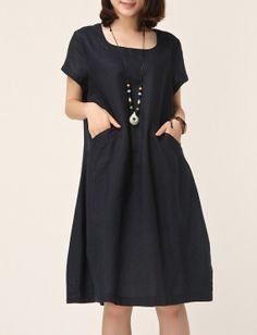 Dark Blue linen dress maxi dress short sleeve skirt cotton blouse linen shirt casual skirt cotton skirt summer clothes plus size dress 22