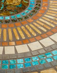 This beautiful custom floor mosaic displays our handcrafted Mosaic Turquoise, Boulder Turquoise, Apple Coral, and Sandstone . Gemstone Countertops, Turquoise Tile, Outdoor Tiles, Poured Concrete, Western Furniture, Lake Cottage, Handmade Tiles, Cozy Cabin, Art And Architecture