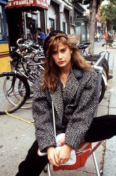 Demi Moore on location for St. Elmo's Fire (1985)