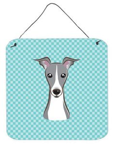 Checkerboard Blue Italian Greyhound Wall or Door Hanging Prints BB1174DS66
