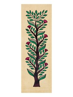 Tree of Life Madhubani Artwork with Flowers                                                                                                                                                                                 More