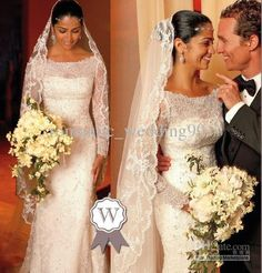 FREE SHIPPING-Customer Made Fashion  New Camila Alves Vintage Long Sleeves Lace Wedding Dress  Inspired Bridal Formal Gowns $196.00
