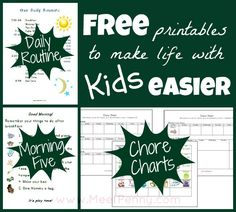 free printable schedule and chore charts