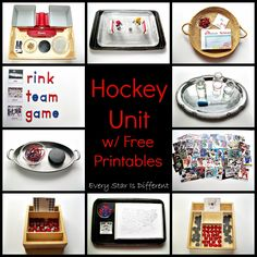 """Hockey Unit with Free Printables from Every Star Is Different (Also see """"Hockey Activities for Tots and Preschoolers with Free Printables"""" at http://www.everystarisdifferent.blogspot.com/2015/01/hockey-activities-for-tots-preschoolers.html)"""