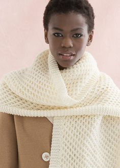 Free knitting pattern for Honeycomb Wrap easy shawl or scarf - This is one of my absolute favorite stitch patterns! This shawl / scarf by Cathy Payson for Red Heart is just a 4 row repeat. It's a great first cable pattern.