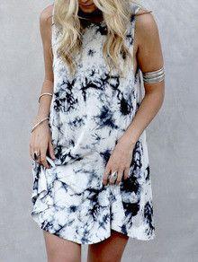 Black Sleeveless Ink Print Smoke Dress