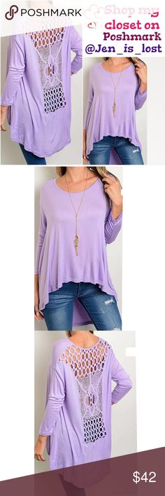 Coming Soon  Long Sleeve Crochet Lace Back Top Long Sleeve Crochet Lace Back Tunic.  Loose fit.  Color is purple.   Fabric Content: 95% RAYON 5% SPANDEX Tops Tunics