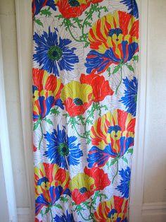 VIntage 60s Super Graphic Fabric Gigantic Poppy by CuteBrightFun, $14.00