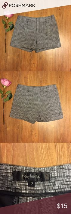 Gray Plaid High-Waisted Shorts In great condition! Super cute, trendy shorts😍 Preppy style. Real pockets but they're not big. Made from 70% cotton, 28% polyester, and 2% spandex. Black silky interior. Has belt loops and rolled up bottoms Daisy Fuentes Shorts