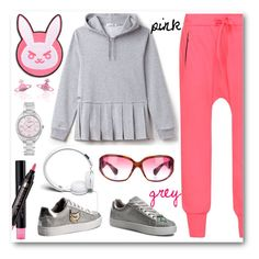 Pink-grey by amisha73 on Polyvore featuring moda, Lacoste, Fendi, Vivienne Westwood, Chrome Hearts, Urbanears, Blizzard and GUESS