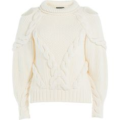 Alexander McQueen Knitted Wool Pullover (20 630 UAH) ❤ liked on Polyvore featuring tops, sweaters, wool knit sweater, sweater pullover, round neck sweater, alexander mcqueen tops and pullover tops