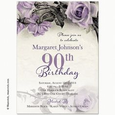 Vintage Rose Illustration Adult 90th Birthday Invitations Parties 90