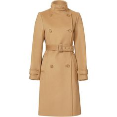 Rental VINCE. Wool Camel Trench Coat (€120) ❤ liked on Polyvore featuring outerwear, coats, brown, dresses, camel trench coat, trench coat, beige coat, wool coat and beige wool coat