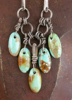 Royston Turquoise Drop Beads and Sterling Necklace - try without the outer drops