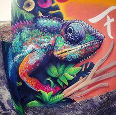 Chameleon Street Art by Xanoy