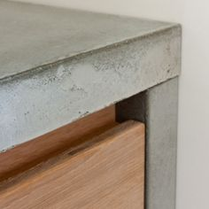Cabinet detail; No need for a handle  -- concrete central island workbench above plan chest? surface mounted belfast sink?