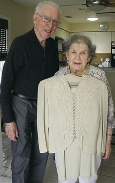 A NJ couple's secrets to 70 years of marriage (via New Jersey Jewish News). Bill and Sheila Lidman in their Monroe Township home in April holding the dress she wore at her wedding 70 years ago