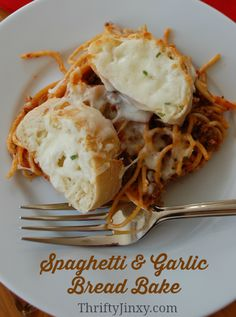 Spaghetti & Garlic Bread Bake Recipe