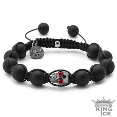 Black Plated Red CZ Iced Out Skull Bead Bracelet King Ice. $39.99. Disco Ball Jewelry. Celebrity Style. Skull Bead Bracelet. 90 Day Warranty. Adjustable Size