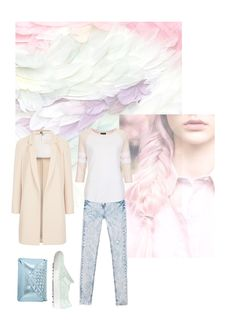 #Vernez editorial collage. #fashion #inspiration #style #trend #minimal #outfit #pastel #feathers