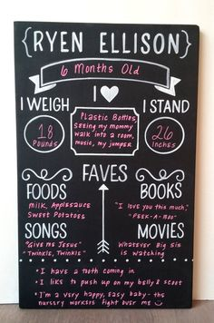 The Original Reusable Milestone Chalkboard First by EllisonMade