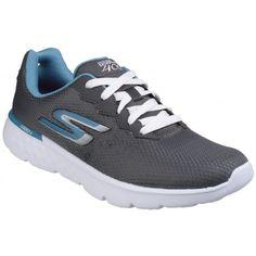 Skechers Womens Ladies Go Run 400 Lace Up Trainers US) (Charcoal Blue).  GOGA Run provides extra shock absorption. Go Impulse sensor sole. e38bd26dff51a