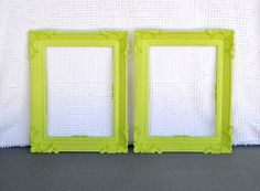 2 Lime Green Ornate  Vintage Frames - Upcycled Frames Modern Bedroom Decor Lime Grey White Chartruese