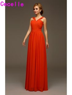 2017 Hot Long Orange Chiffon Bridesmaids Dresses With Straps-formal Summer Wedding Party Dresses Custom Made #Weddingdress #Promdress