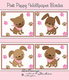 Pink puppy wallpaper border wall art decals for baby girl nursery and children's dog paw prints room decor #decampstudios