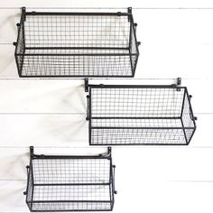 Get organized in style using our coordinating wire wall baskets! For more metal hanging baskets visit Antique Farmhouse. Wire Baskets, Baskets On Wall, Hanging Baskets, Antique Farmhouse, Farmhouse Style, Farmhouse Decor, Metal Wall Basket, Rustic Renovations, Apartment Office