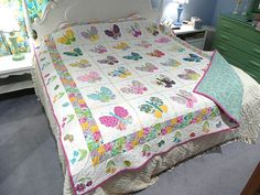 finished butterfly quilt queen size | I have uploaded a larg… | Flickr