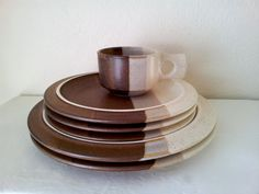 Vintage Ceramic Fabrik Pottery AGATE PASS Square Handled Mug u0026 Five Plates - Jim McBride Seattle circa 1970s / 1980s & Studio art potter Jim McBride created Fabrik a Seattle-based ...