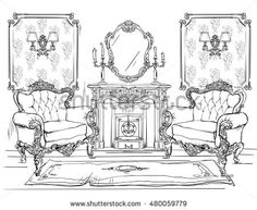 Immagine vettoriale stock 480059779 a tema Home Interior Armchairs Fireplace (royalty free) Architecture Symbols, Interior Architecture Drawing, Interior Design Renderings, Interior Sketch, Home Interior, Ink Illustrations, Illustration Art, Background Drawing, Perspective Art