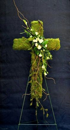 Moss Cross with floral accent, Easter, funeral Grave Flowers, Cemetery Flowers, Church Flowers, Funeral Flowers, Wedding Flowers, Funeral Floral Arrangements, Church Flower Arrangements, Funeral Sprays, Casket Sprays